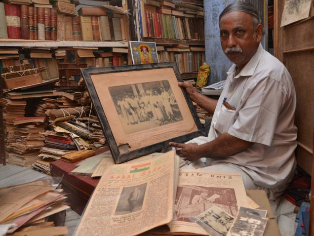 ARCHIVAL VALUE: S.N. Lekshmanan displaying his collection. / Photo: L. Balachandar / The Hindu