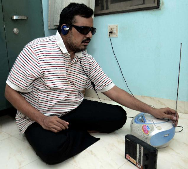 Srikanth, story teller, visually-challenged person  /. Photo: M. Srinath / The Hindu