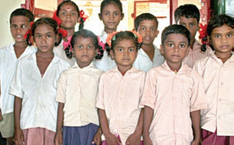 Some of the children having Kuttiyan as a prefix or a suffix to their names at Valayapatti village.