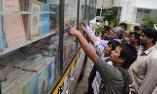 Urdu books on wheels at New College in Royapettah / .Photo: K. V. Srinivasan / The Hindu