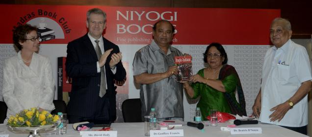 Beatrix D'Souza, former MP (second from right) releases 'The Anglo-Indians: A 500-Year History', written by S. Muthiah and Harry MacLure. Others in the picture, (from left) Jennifer McIntyre, US Consul General; David Holly, Consul General, Australia; Geoffrey K. Francis, former MLA and writer S. Muthiah — Photo: S.R. Raghunathan / The Hindu