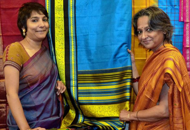 Simrat Chadha and Nilini Sriram with korvai saris. / Photo: S.Madhuvanthi / The Hindu