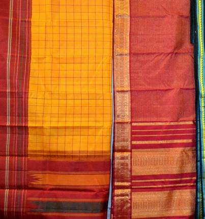 Sarees of various patterns recreated with Korvai. / Photo: S. Madhuvanthi / The Hindu