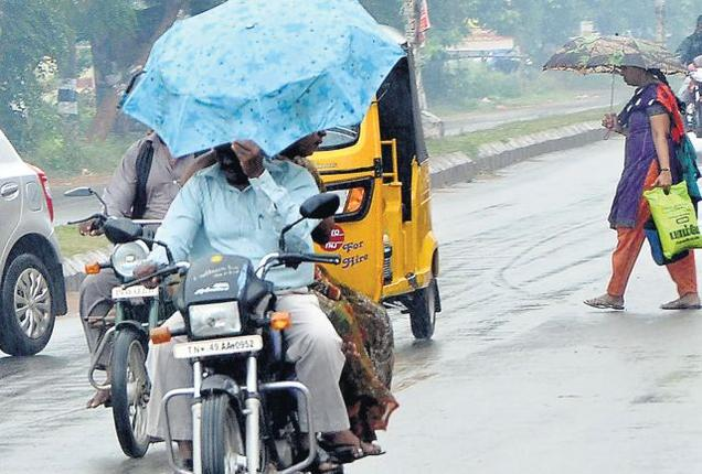 The Hindu Heavy rain continued for the second day on Friday in Thanjavur and Tiruvarur. / Photo: B. Velankanni Raj / The Hindu
