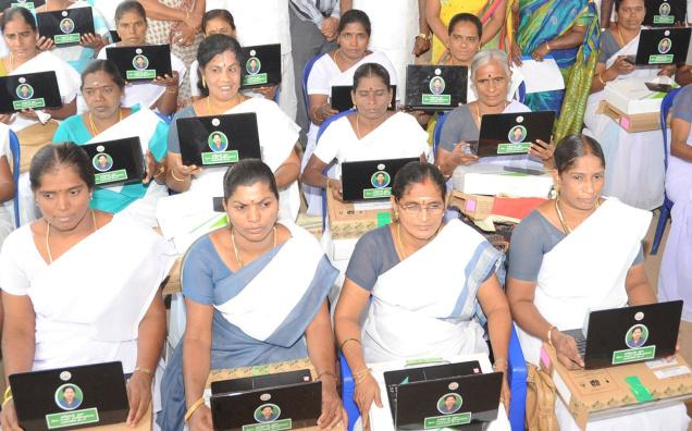 Village Health Nurses with the free laptops they received to compile data on women and childcare in Villupuram district / The Hindu