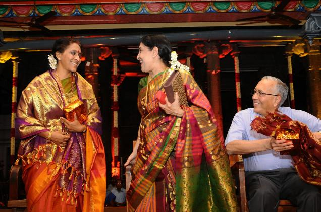 The 11-day music and dance festival, which kicked off with a concert by Bombay Jayashri (left), was inaugurated by N. Murali (right). P.S Sachu is seen in picture / Photo: R. Ragu / The Hindu