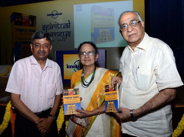 Temple Trips, South India, a travel guide by Janaki Venkataraman (seen in picture) and Supriya Sehgal, was launched on Friday. / Photo: K.V. Srinivasan / The Hindu