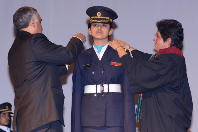 Chairman and Managing Director, Skoda Auto India, Sudhir Rao, adorning students with an epaulette at the Lawrence School in Lovedale on Saturday / The Hindu