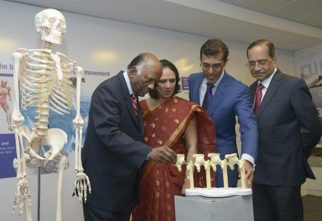Dr. P.V.A. Mohandas, Managing Director, MIOT Hospitals, Mallika Mohandas, Chairman, MIOT Hospitals, Dr. Prithvi Mohandas, Joint Managing Director and Dr. Barry D. Rosario of MIOT Hospitals on Thursday. /  Photo: V. Ganesan. / The Hindu