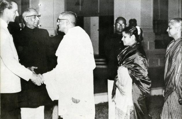M.S. Subbulakshmi and her husband, T. Sadasivam (third from left), are greeted by the Duke of Edinburgh at the International Music Festival. / by Special Arrangement / The Hindu