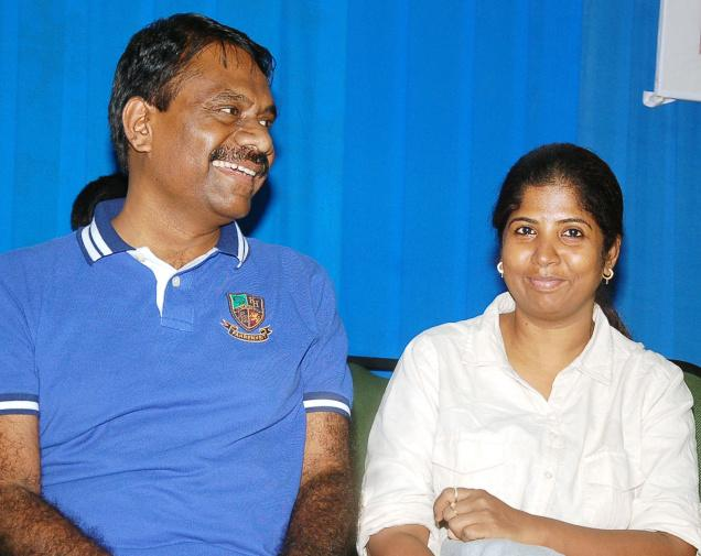 Table tennis coach Arul Selvi with former national paddler and husband Salve Kumar. Photo: S. Rambabu / The Hindu