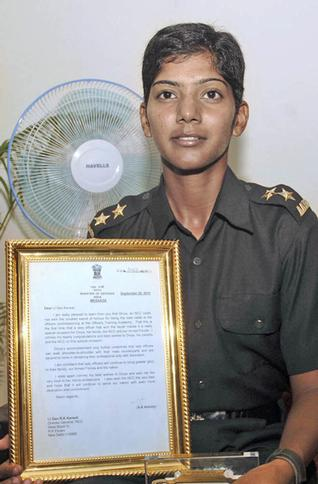 This was the second time Capt. Divya participated in the Republic Day parade after marching as an NCC cadet in 2008. Photo: K.V. Srinivasan / The Hindu