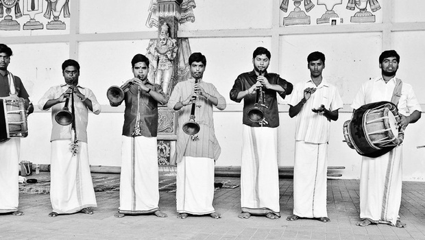 Karthikeyan (fifth from the left) with his troupe  P Jawahar