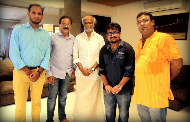 The crew with Superstar Rajinikanth / Special Arrangement / The Hindu