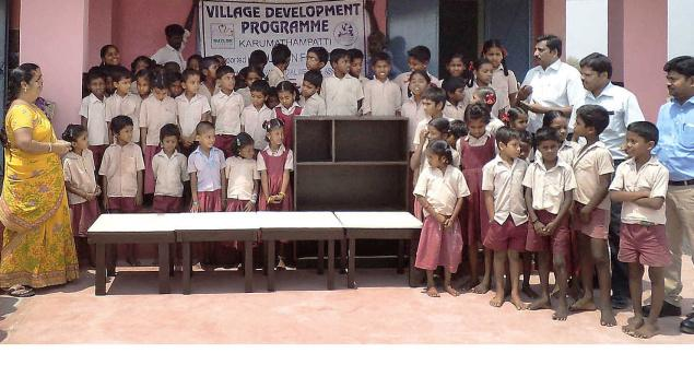Desks and shelf made from scrap by Suzlon was donated to a primary school in Coimbatore district recently.