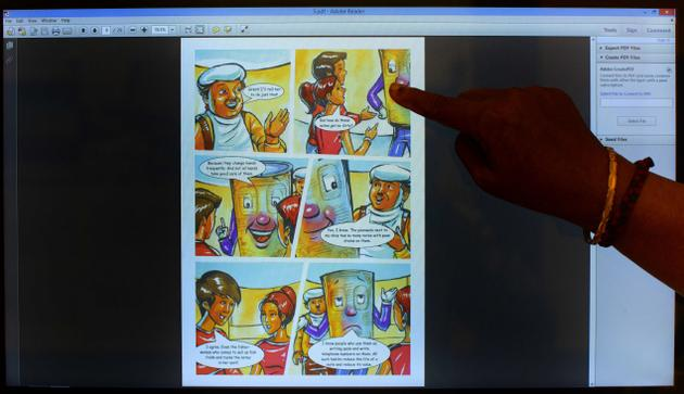 A touch screen features a comic at the Reserve Bank of India Financial Gallery. Photo: V. Ganesan. / The Hindu