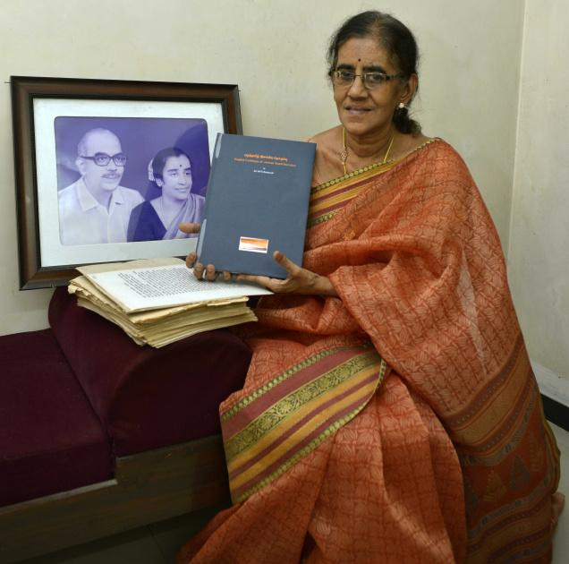 Sivasundari Bose with the original manuscript and published version of her father M.V.S. Ratnavale's catalogue of ancient Tamil poetry. Photo: M. Moorthy