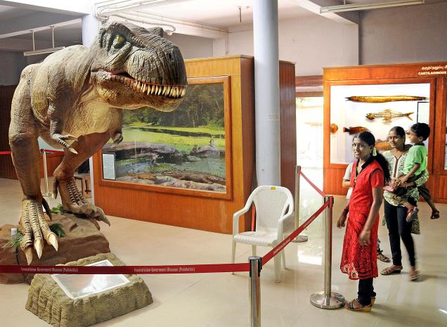 FROM THE LOST WORLD:The moving dinosaur is the cynosure of all eyes in the renovated government museum in Pudukottai.— PHOTO: A. MURALITHARAN