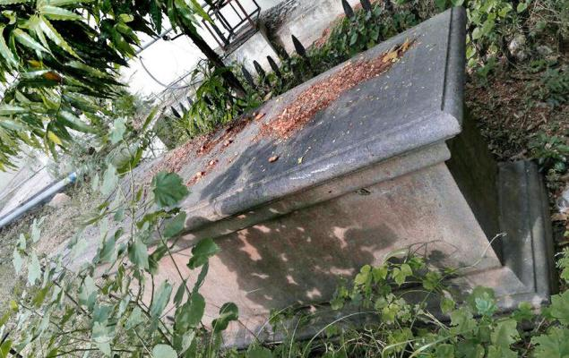 Edward Bulkley's tomb in Ordnance Line may be moved to make way for a transformer. —Photo: Special Arrangement