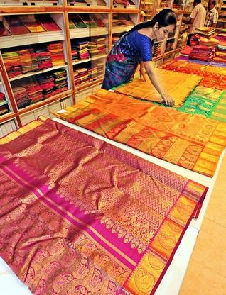 Co-optex has launched a collection of Kanchipuram silk saris with traditional designs and colours.-Photo: M. Periasamy