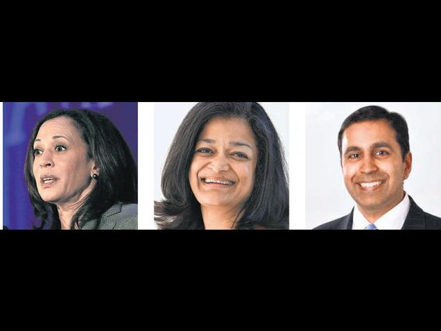 CLOSER LOOK: Kamala Harris, Pramila Jayapal, Raja Krishnamoorthi. Photo: Special Arrangement