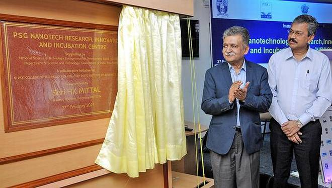 Harkesh Mittal (left), advisor and head of National Science and Technology Entrepreneurship Development Board, inaugurates the PSG Nanotech Research, Innovation and Incubation Centre in Coimbatore on Monday. L. Gopalakrishnan, Managing Trustee of PSG Sons and Charities is seen in the picture . | Photo Credit: S. Siva Saravanan