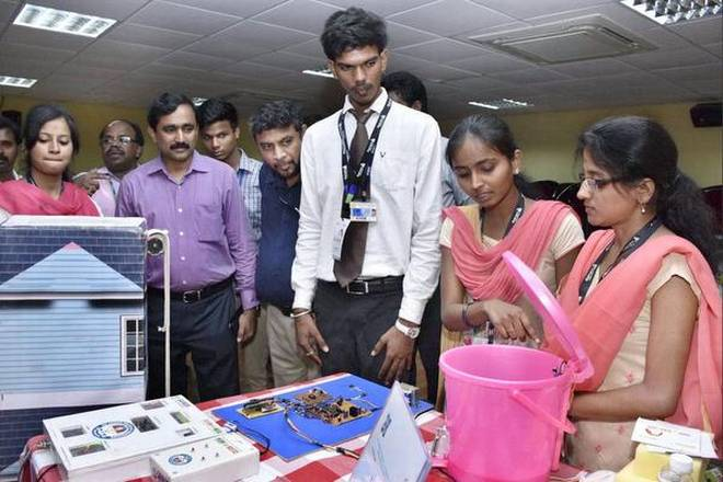 Young talent: Students display their innovations at Sai Ram Engineering College.
