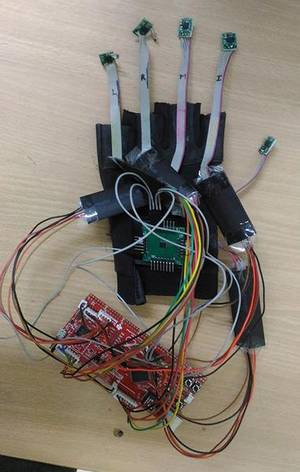 The sensors are placed on the segments of each finger.   | Photo Credit: Special Arrangement
