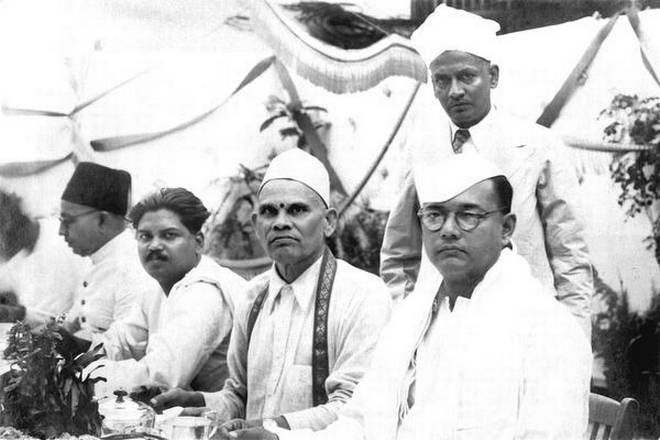Subash Chandra Bose at the Tea hosted for him at the Beehive Foundry, Madras on September 3,1939. To his right is K S Rao, owner of the Beehive Group, and third from right (seated) a mystery man only recently identified by the owner of this picture. Standing is C. Audikesavalu Chettiar, Rao's partner.
