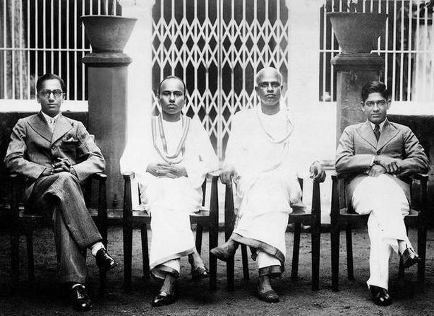 (Clockwise) KS Narayanan (extreme left) and TS Narayanaswami (extreme right) at the Indo-Commercial Bank's Vizianagaram branch in 1938
