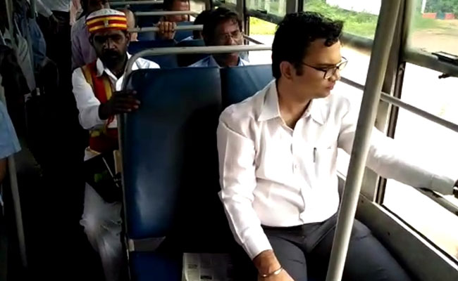Cuddalore District Collector Prashant M Wadnere on a local bus