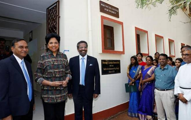 Giving back: Indra Nooyi, chairperson & CEO, PepsiCo, with students and staff at the Madras Christian College.