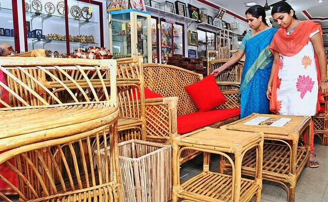 Furniture made in lantana, an invasive weed scrub, by the tribal artisans of western ghats on display for sale at Poompuhar's Crafts of Tamil Nadu exhibition in Coimbatore. | Photo Credit: M_Periasamy