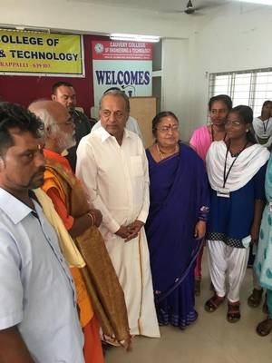 A French Reunion island team interacting with students at Cauvery College of Engineering and Technology at Perur near Tiruchi on Sunday.... | Photo Credit: HANDOUT
